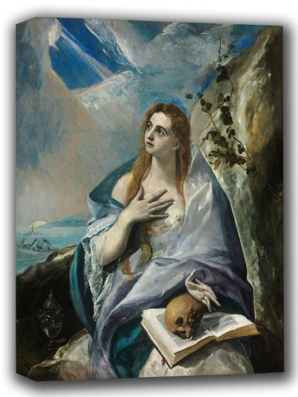 El Greco (Domenico Theotocopuli): The Penitent Magdalene. Fine Art Canvas. Sizes: A4/A3/A2/A1 (002042)